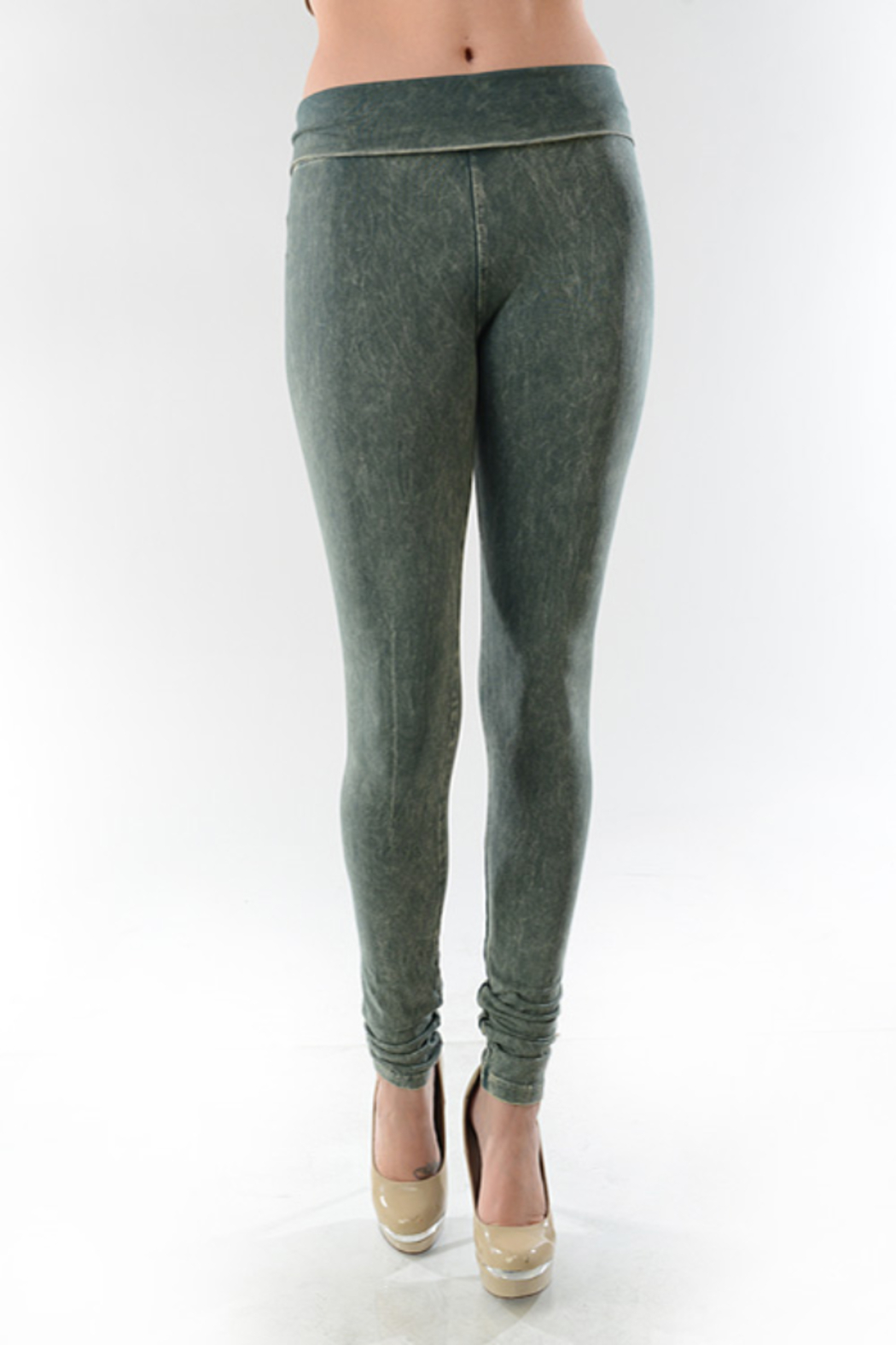 T-Party  Mineral Wash Foldover Leggings - Front Cropped Image