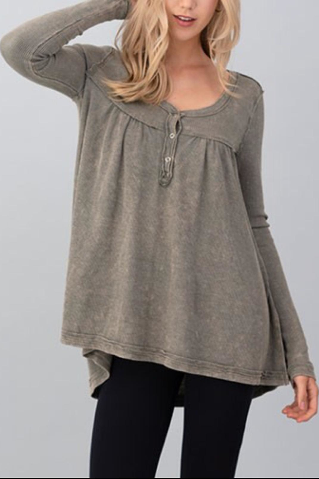 Hashttag Mineral Wash Henley - Front Cropped Image