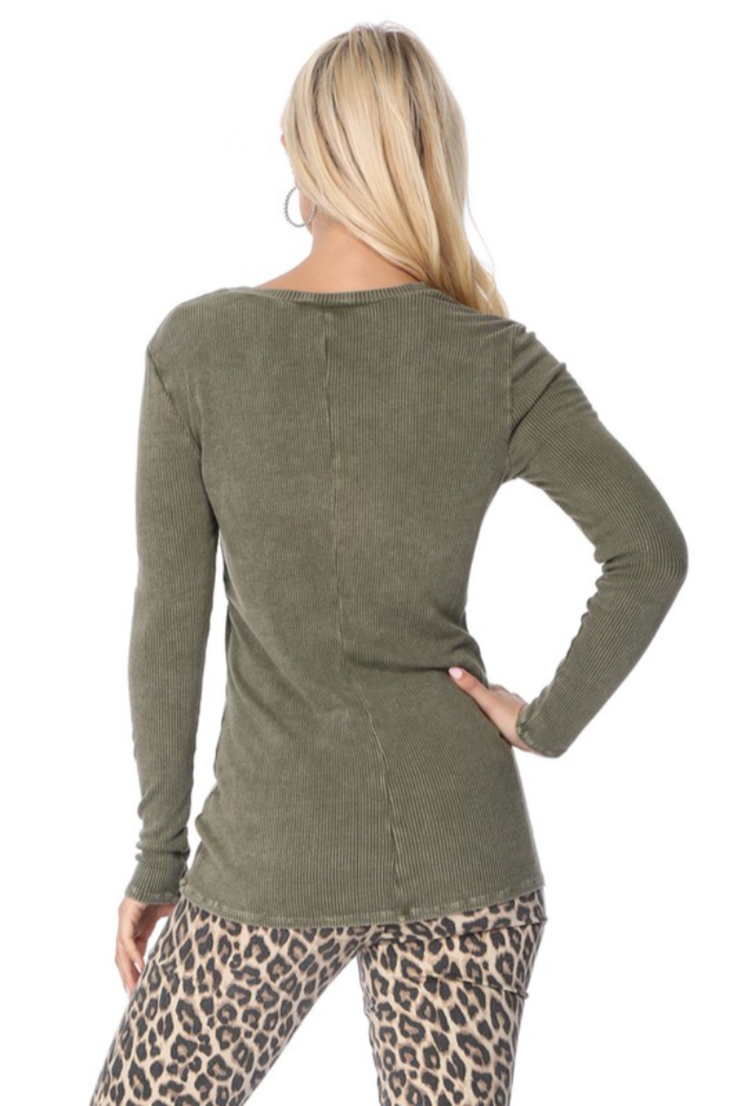 TParty Mineral Wash Long Sleeve Ribbed Top - Side Cropped Image