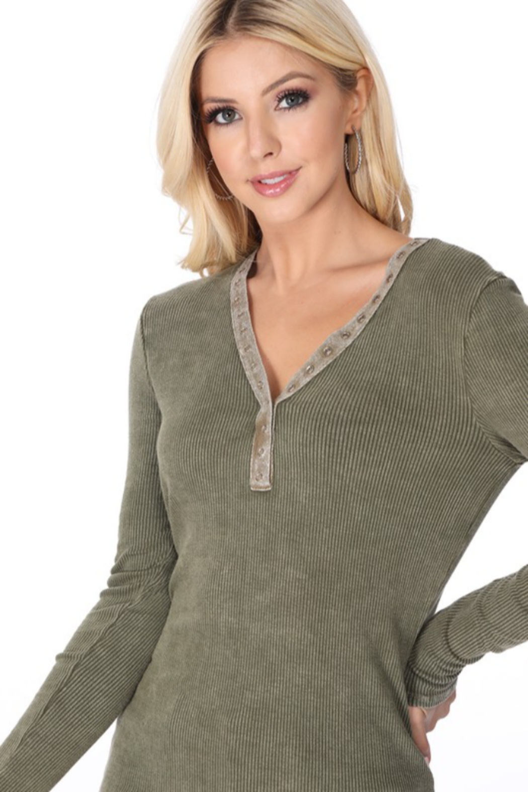 TParty Mineral Wash Long Sleeve Ribbed Top - Front Full Image