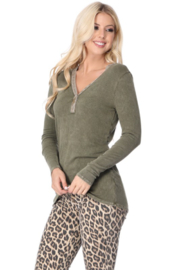 TParty Mineral Wash Long Sleeve Ribbed Top - Product Mini Image