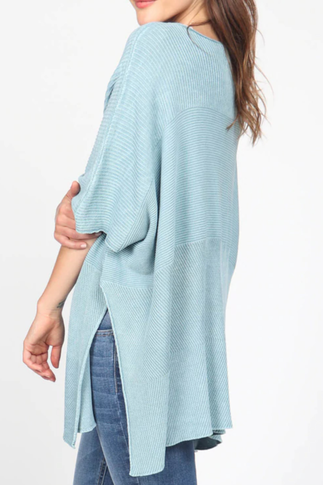 M. Rena Mineral Wash Scoop Neck Sweater - Front Full Image