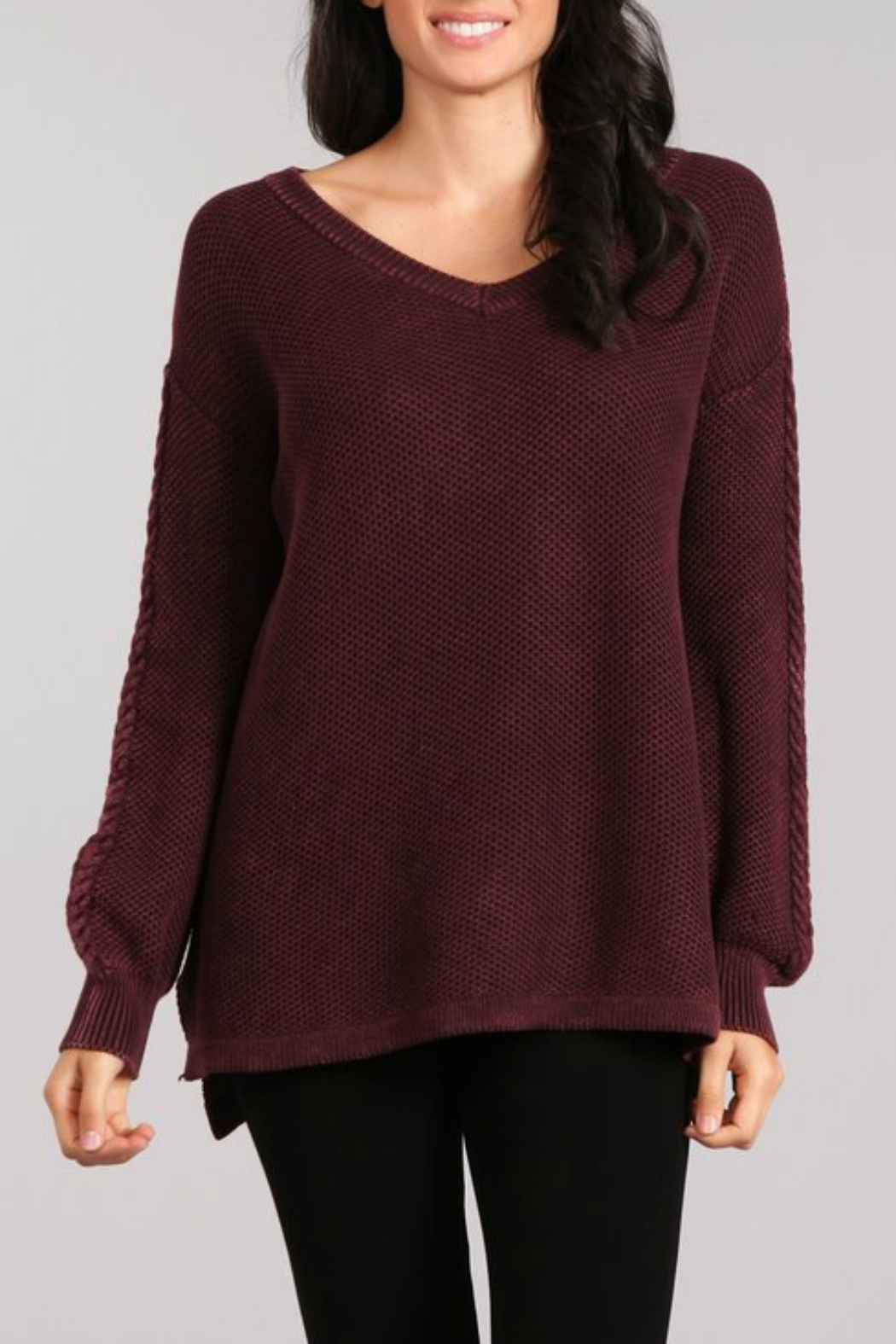 096666746e1794 M-rena Mineral Wash sweaterWwith Contasting Cable - Front Cropped Image