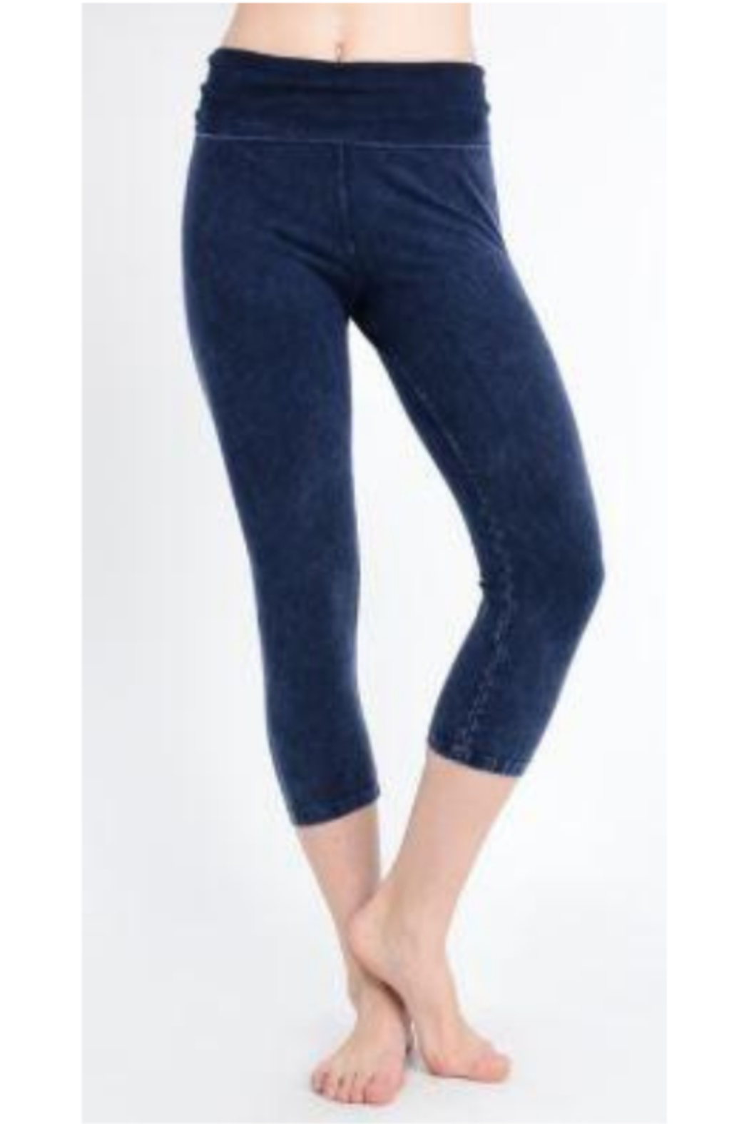 T Party Mineral Washed Capri Length Cropped Yoga Leggings - Main Image