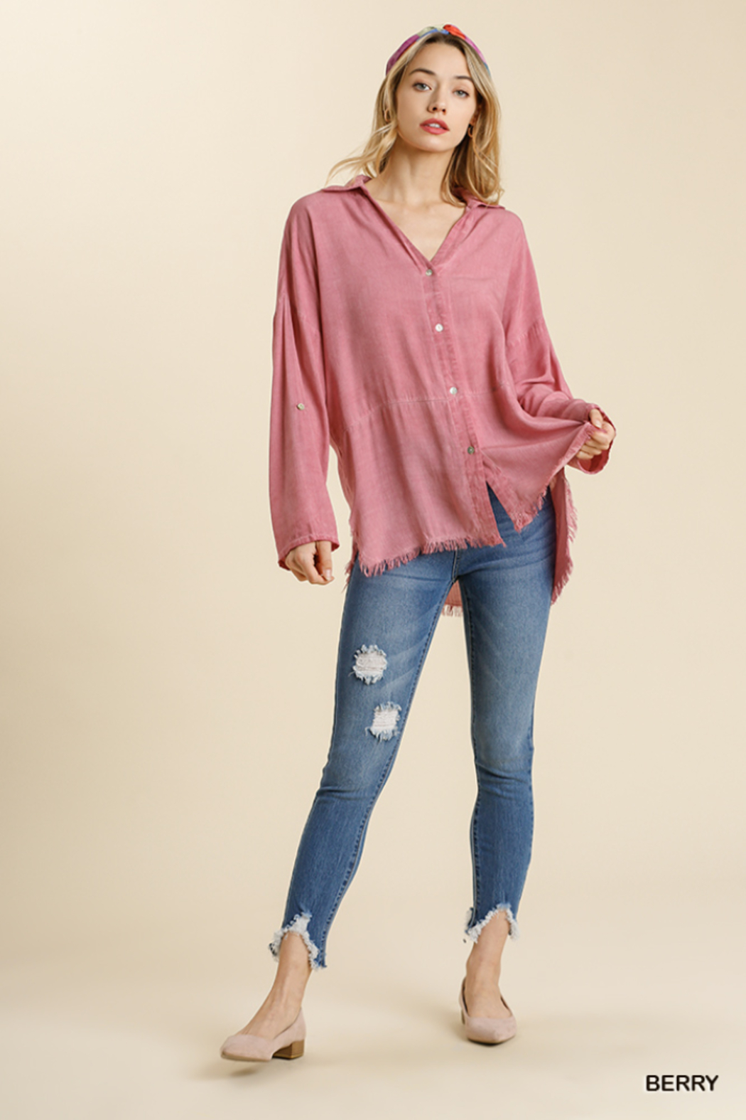 umgee  MINERAL WASHED COLLARED BUTTON DOWN - Front Full Image