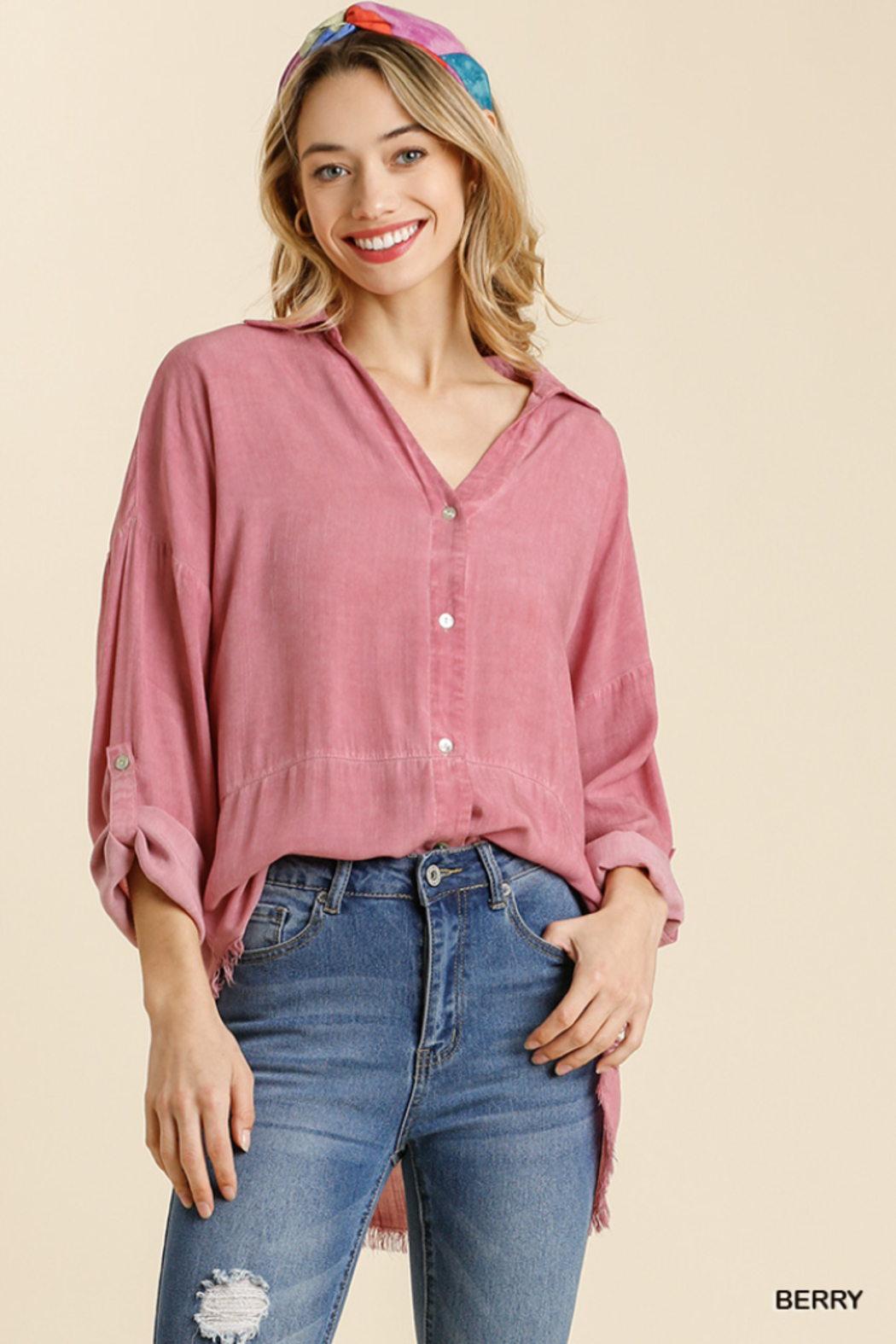 umgee  MINERAL WASHED COLLARED BUTTON DOWN - Main Image