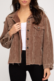 She + Sky Mineral Washed Corduroy Jacket - Product Mini Image