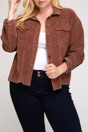 She + Sky Mineral Washed Corduroy Jacket Curvy - Front cropped
