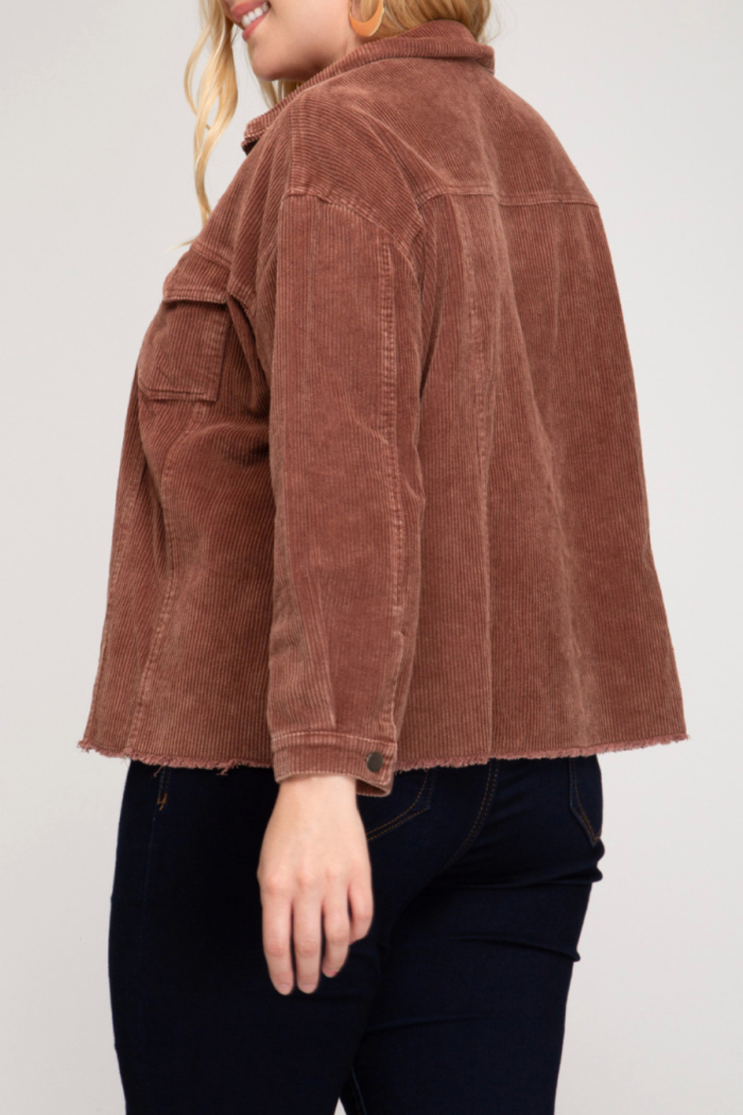 She + Sky Mineral Washed Corduroy Jacket Curvy - Front Full Image