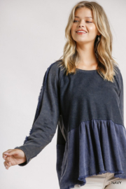 Umgee USA Mineral Washed French Terry Babydoll Top - Product Mini Image