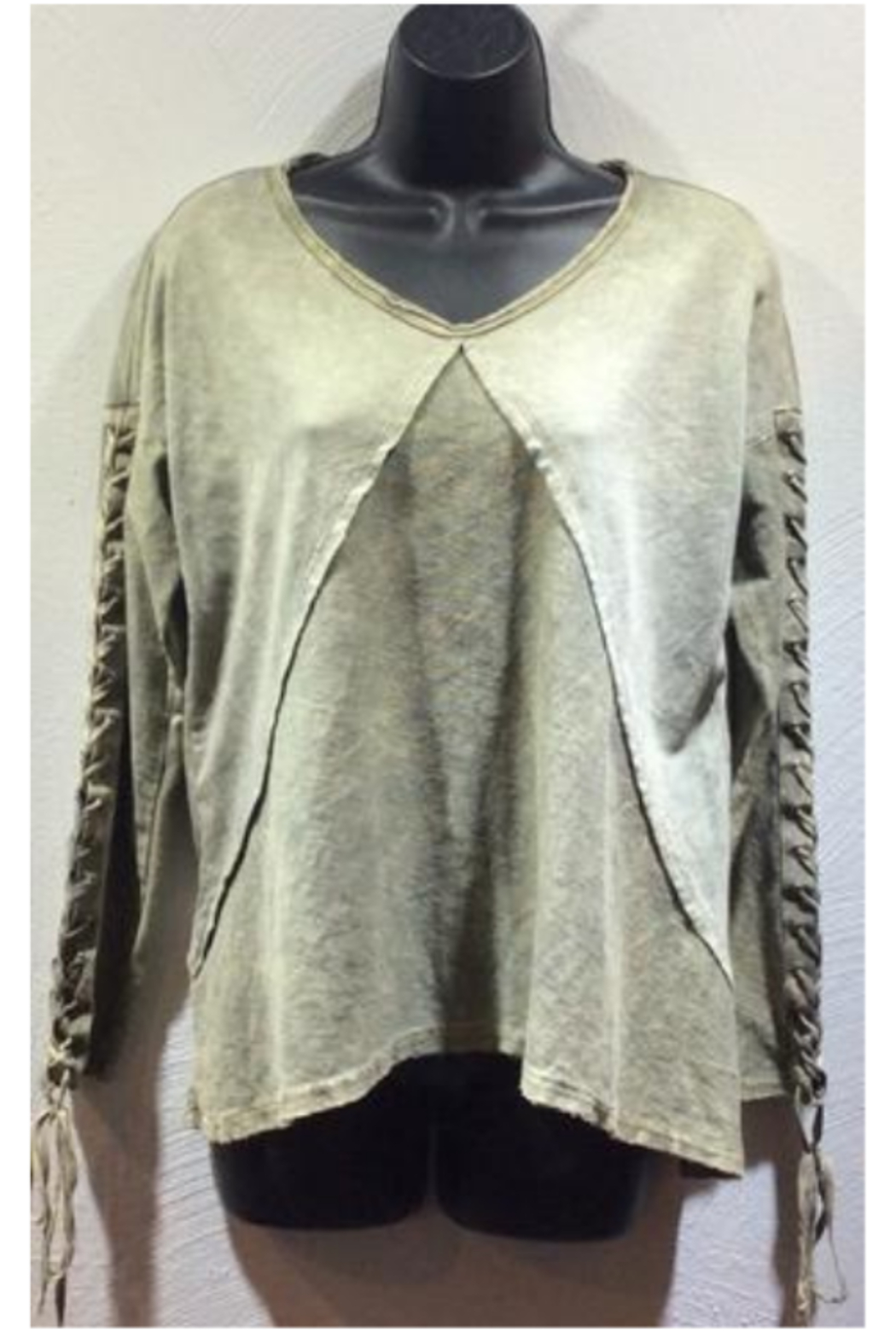 T Party Mineral Washed Lace Up Tunic - Main Image