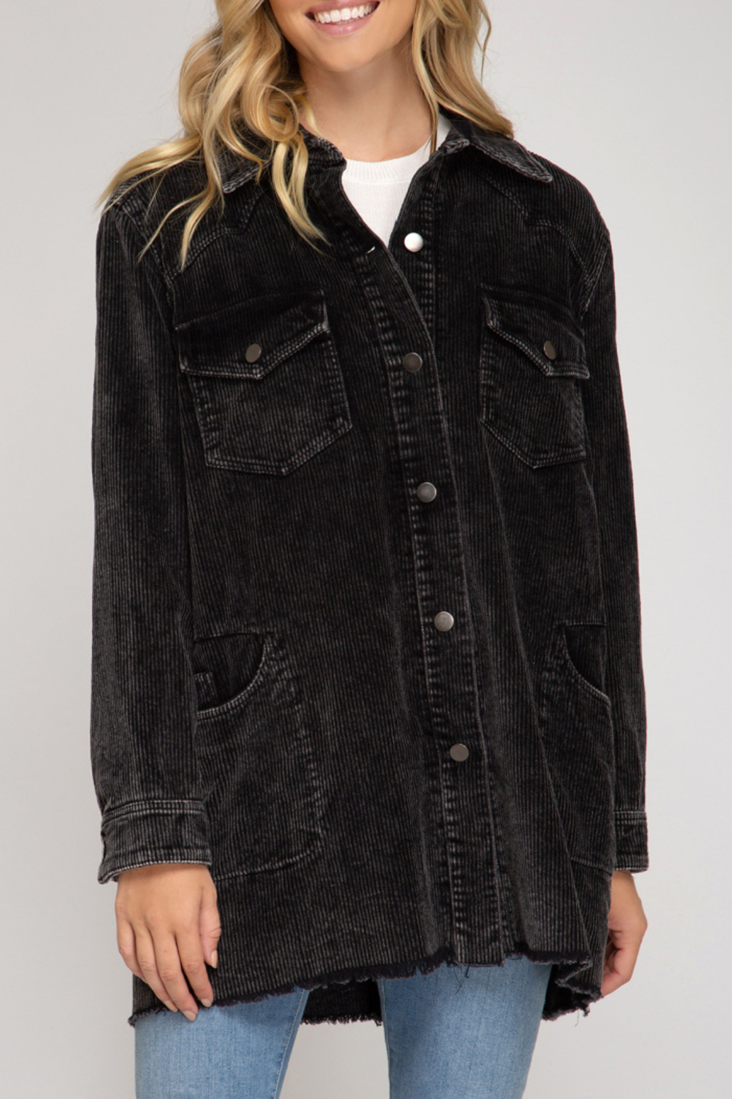 She + Sky Mineral Washed Long Corduroy Jacket - Front Cropped Image