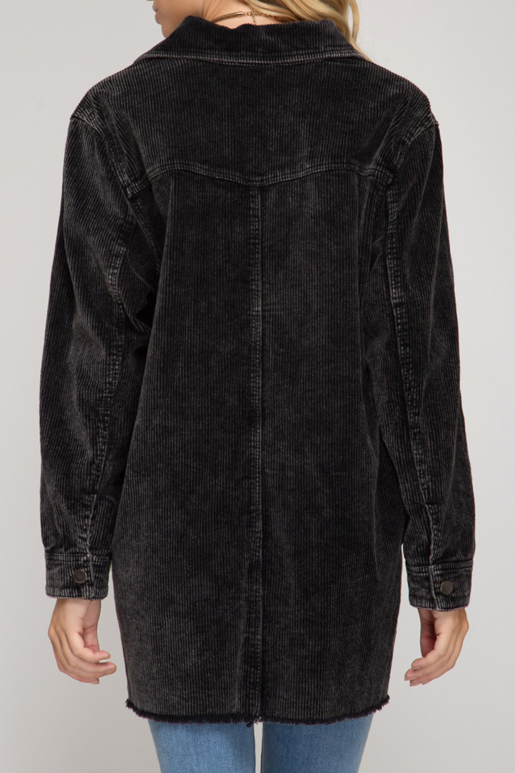 She + Sky Mineral Washed Long Corduroy Jacket - Front Full Image