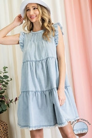 eesome Mineral Washed Tiered Mini Dress - Product Mini Image