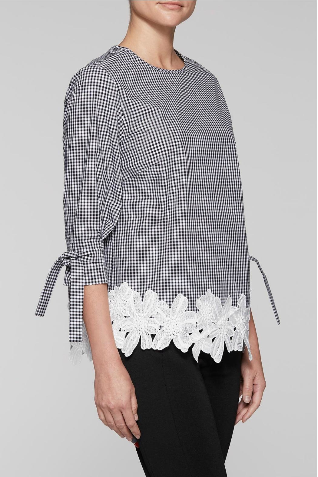 Ming Wang Gingham Check Blouse - Front Full Image