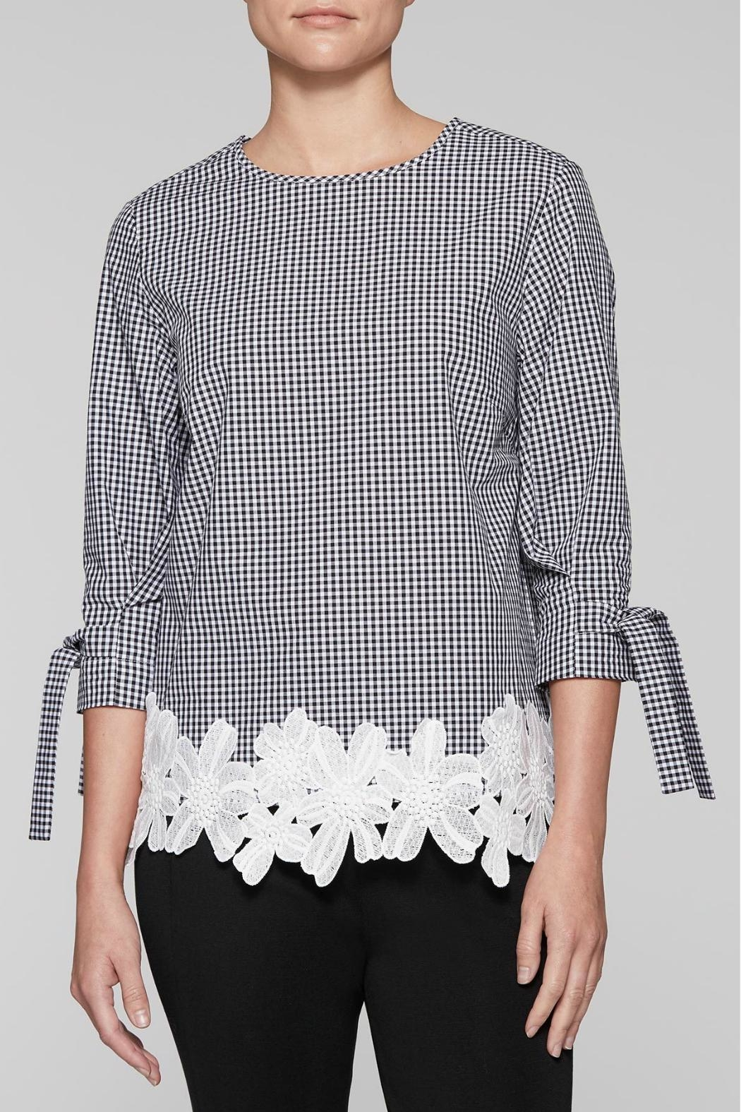 Ming Wang Gingham Check Blouse - Front Cropped Image