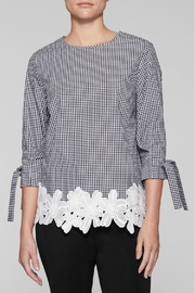 Ming Wang Gingham Check Blouse - Front cropped