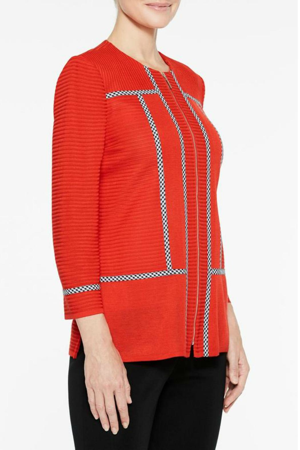 Ming Wang Poppy Red Jacket - Front Full Image