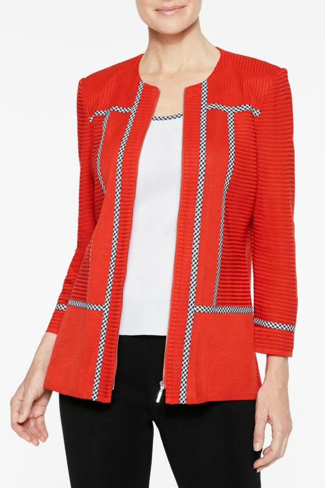 Ming Wang Poppy Red Jacket - Side Cropped Image
