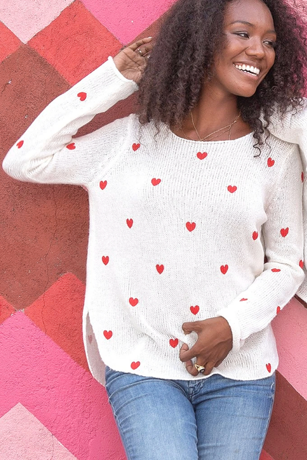 Wooden Ships Mini Heart Crew Sweater - Front Full Image