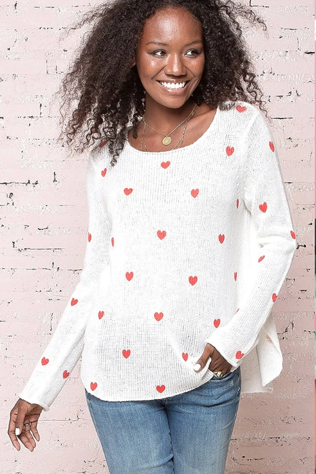 Wooden Ships Mini Heart Crew Sweater - Main Image