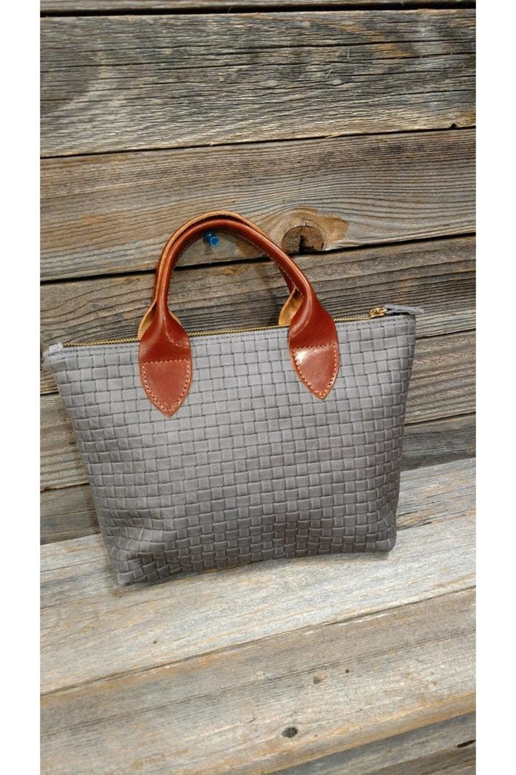 m.andonia Mini Leather Tote - Front Cropped Image
