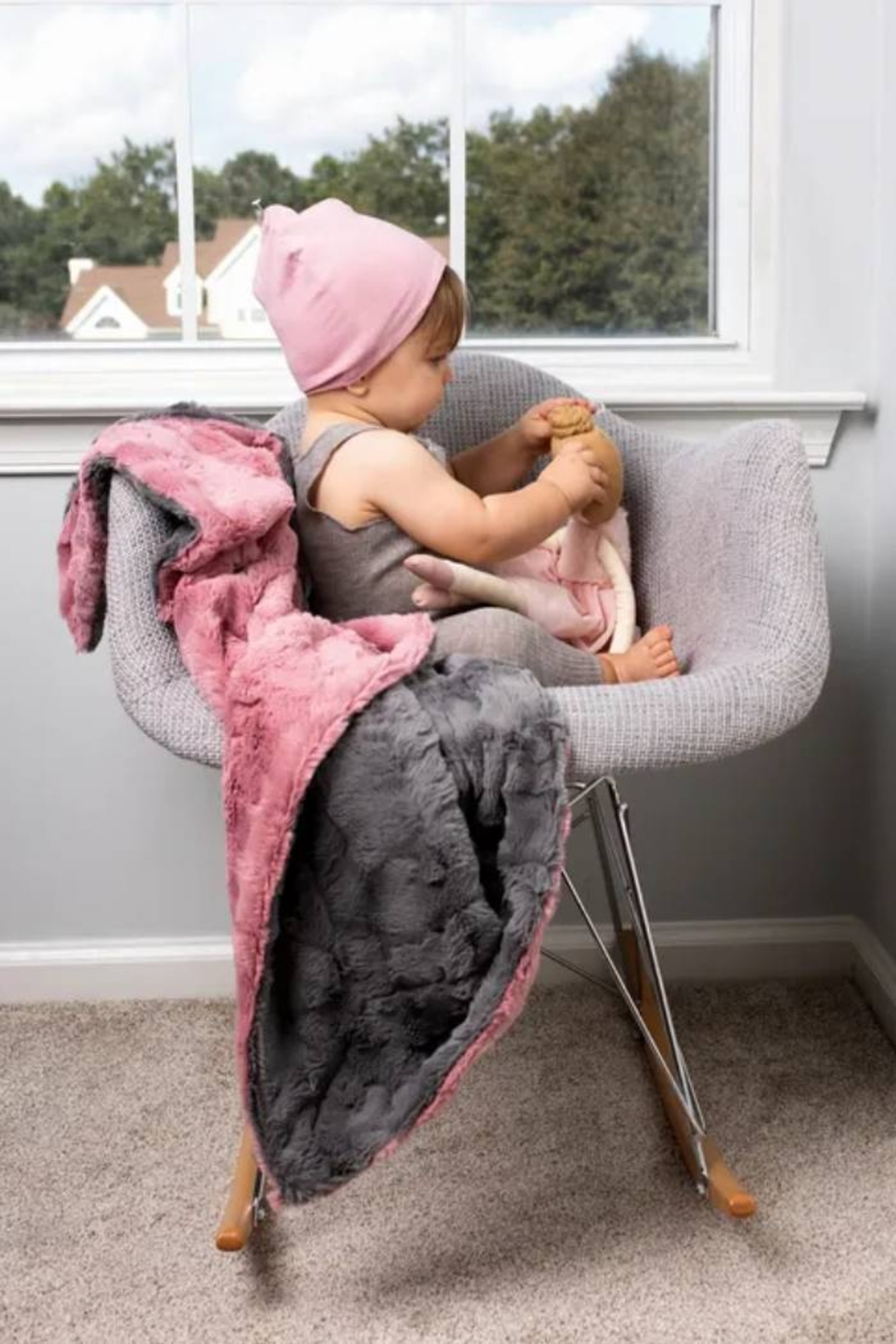 MINI POCKET Mini Pocket Collection Faux Fur Handmade in USA Infant Baby Blanket (Pink/Ivory) - Front Full Image