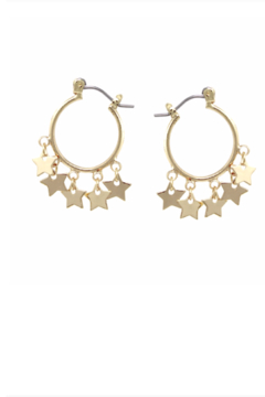 US Jewelry House Mini Star Dangle Hoop Earrings - Product List Image