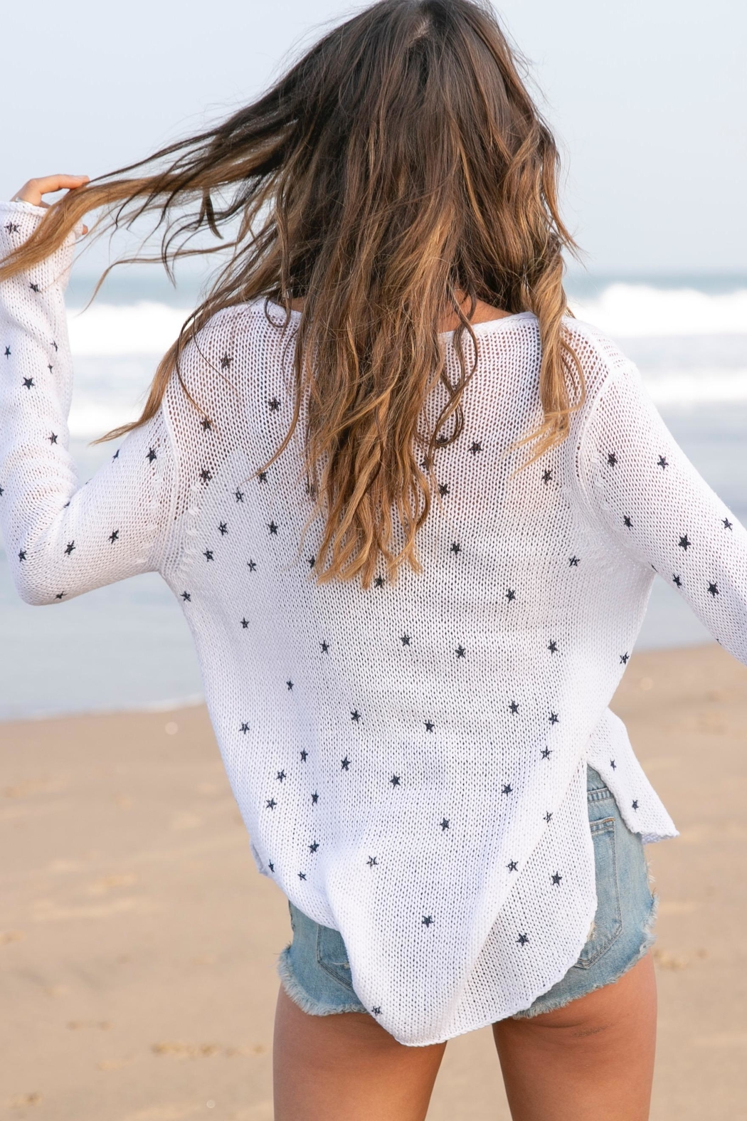 Wooden Ships Mini Stars Sweater - Side Cropped Image