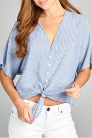 Renee C Mini-Stripe Tie Top - Product Mini Image