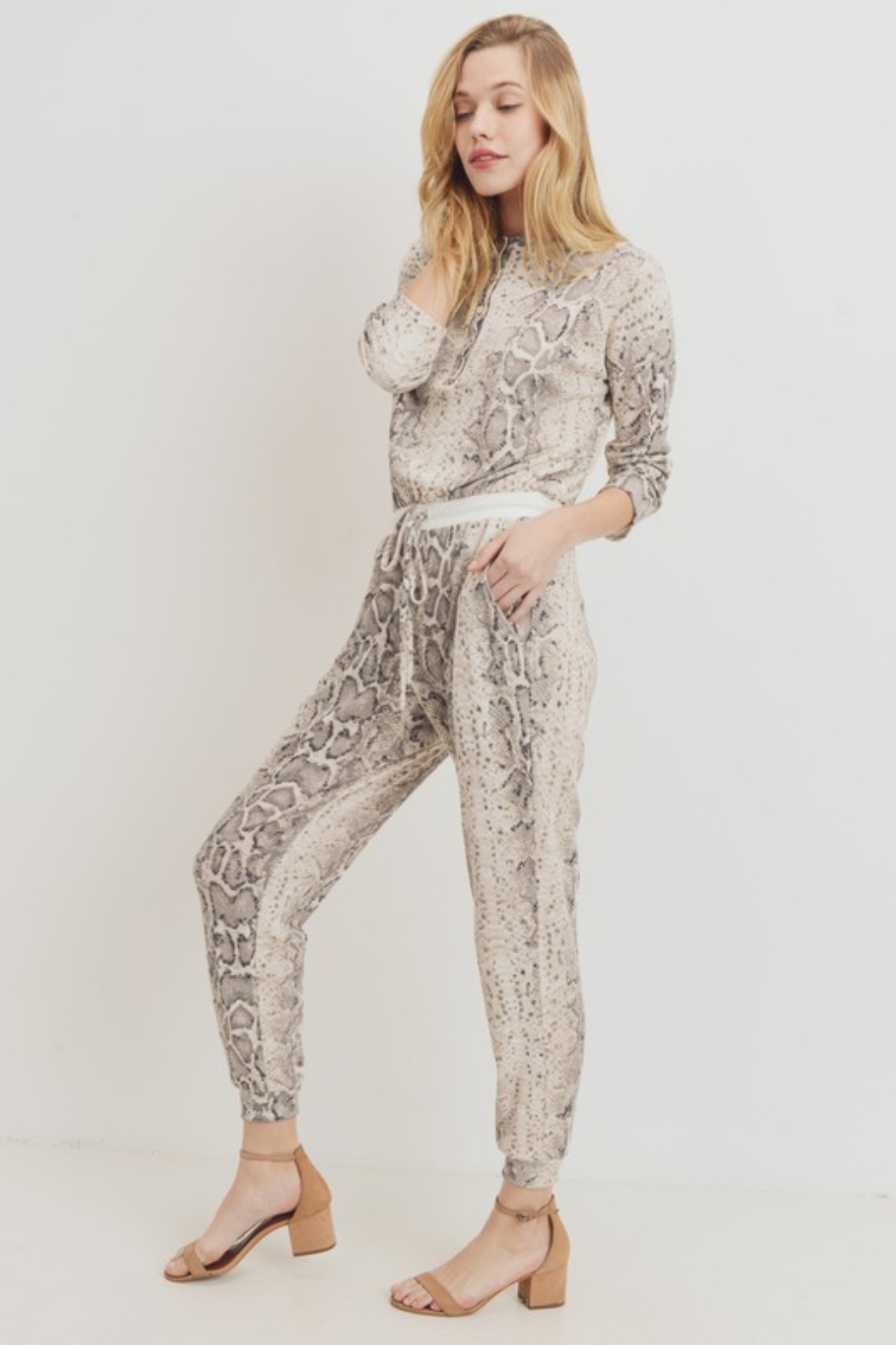 Olivaceous  Mini Thermal Knit Jumpsuit - Front Full Image