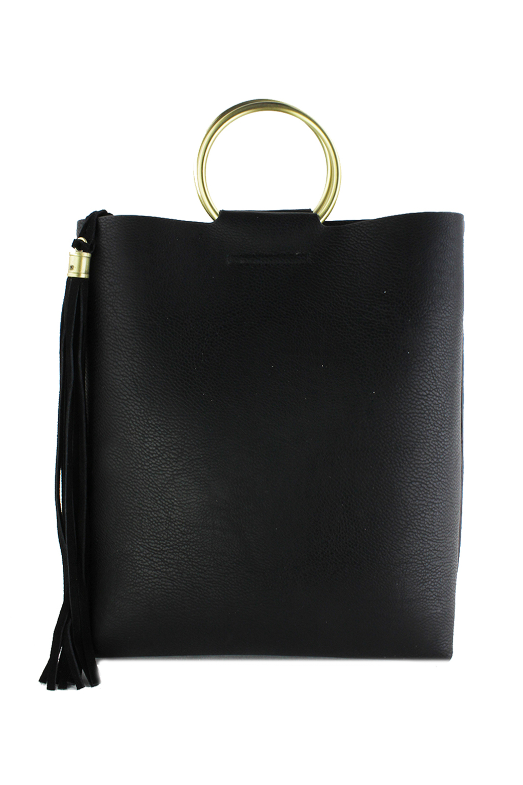 Street Level Mini Tote w/ Tort Ring Handle - Front Cropped Image