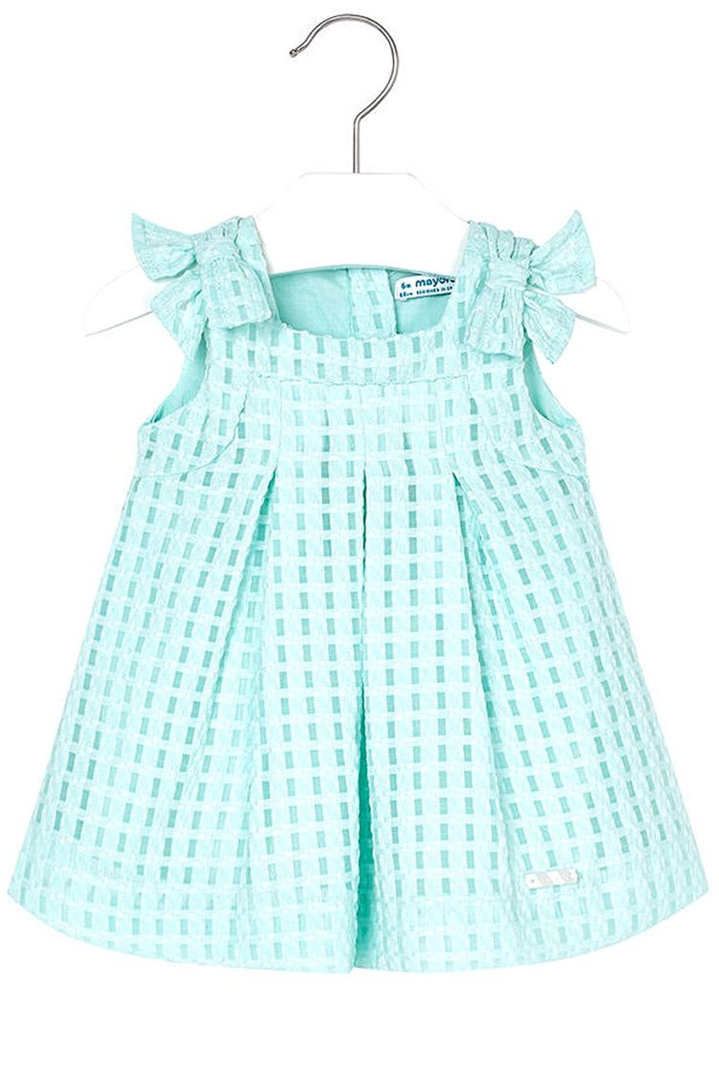 Mayoral Mini Turquoise Basket-Weave-Dress - Front Cropped Image