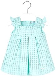 Mayoral Mini Turquoise Basket-Weave-Dress - Front cropped