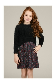 Mini Molly Floral Dress W/fluffy Overlay - Front full body