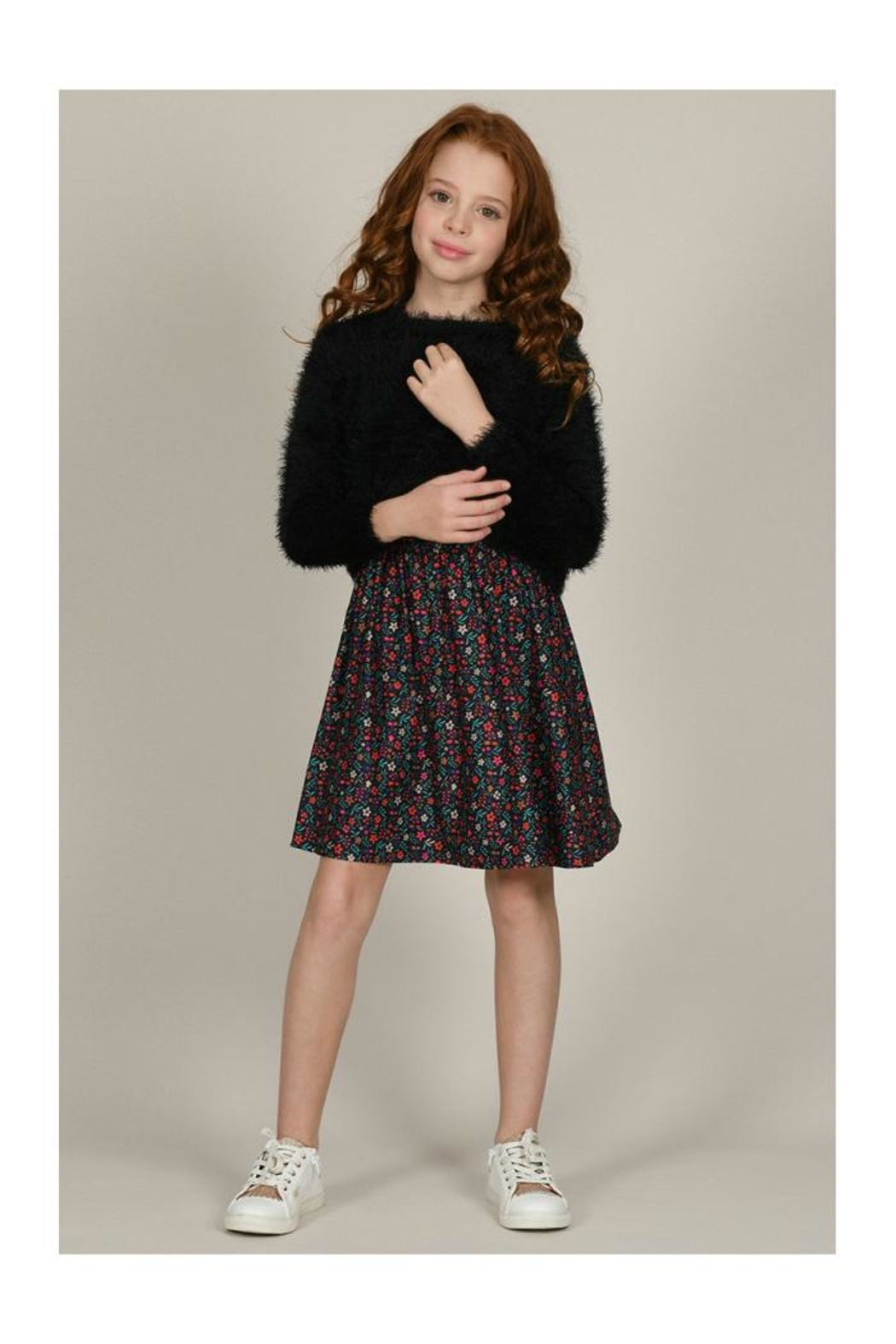 Mini Molly Floral Dress W/fluffy Overlay - Main Image