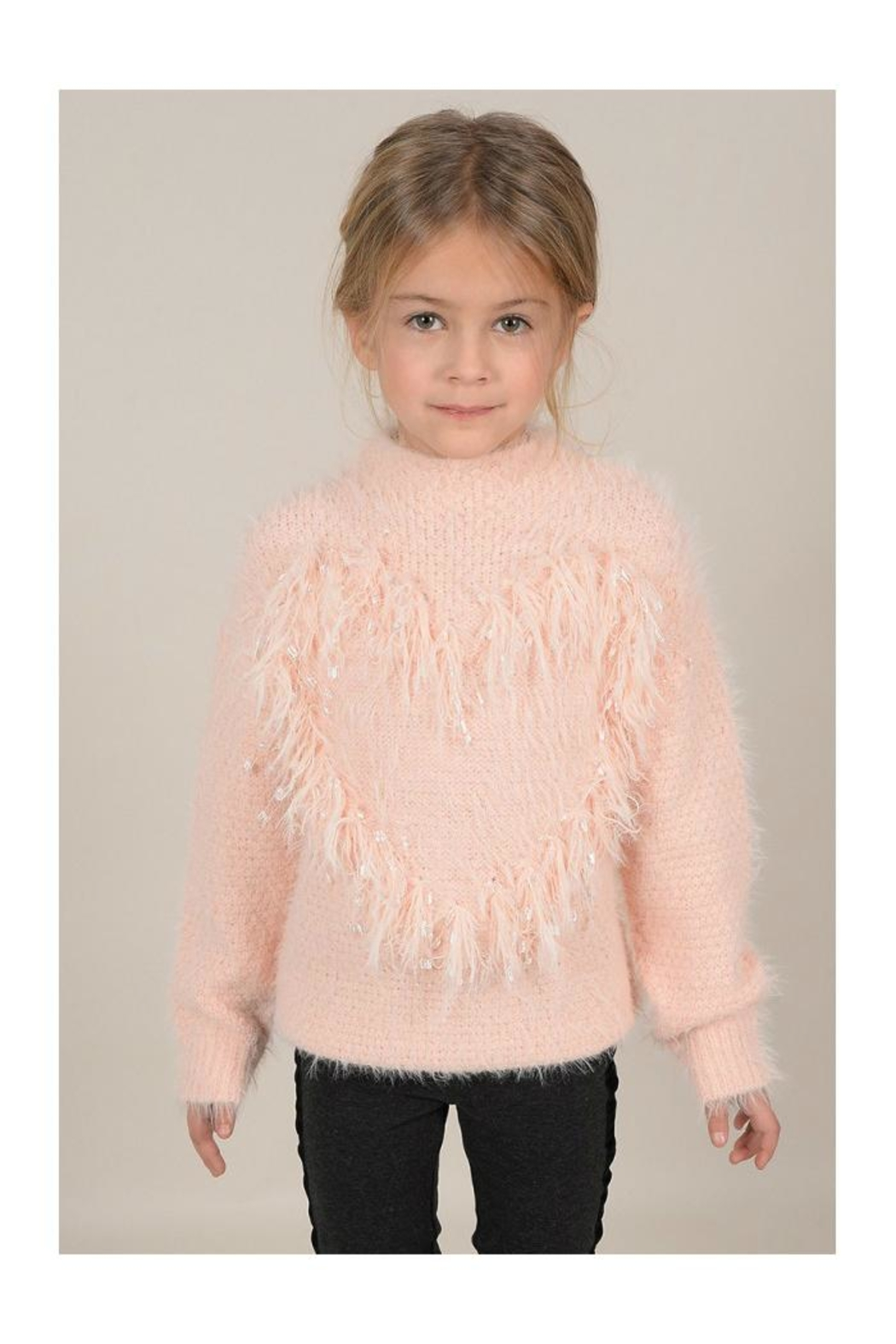 Mini Molly Heart Sparkly Sweater - Front Full Image