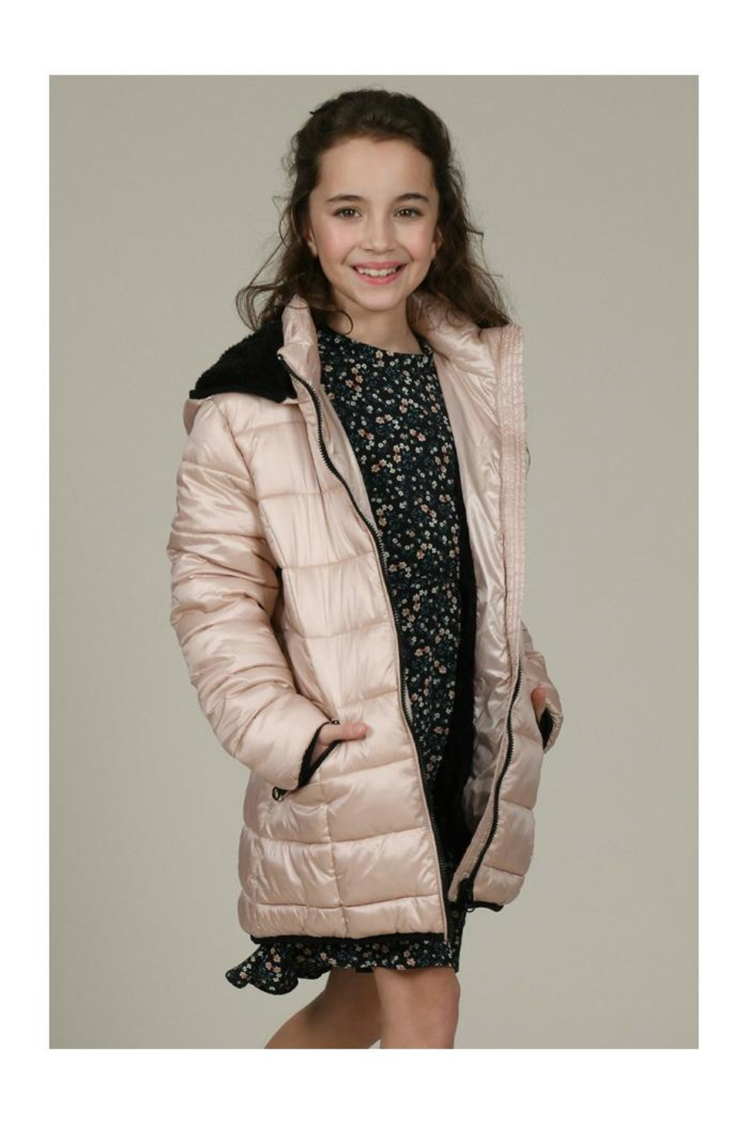 Mini Molly Padded Iridescent Coat - Side Cropped Image