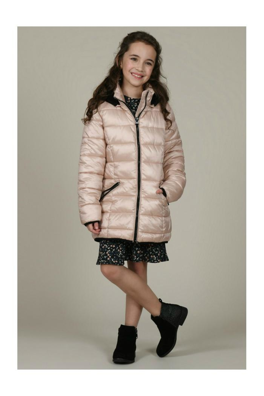 Mini Molly Padded Iridescent Coat - Front Cropped Image