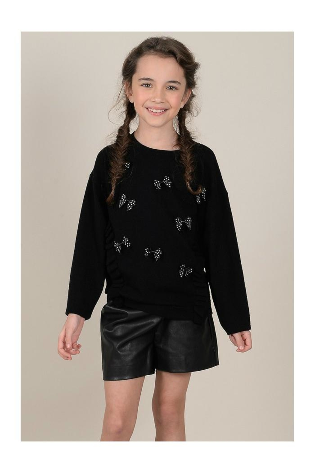 Mini Molly Scattered Bows Sweater - Front Full Image