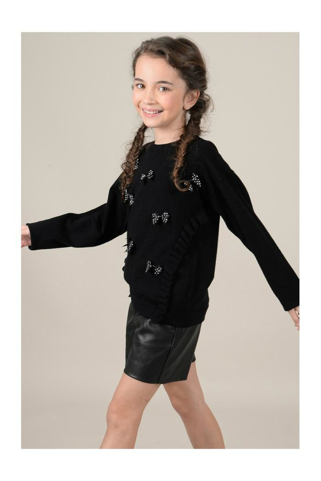 Mini Molly Scattered Bows Sweater - Side Cropped Image