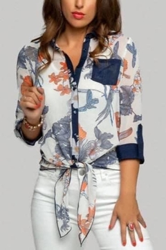 Minkas Bird And Flower Print Tie Top - Product List Image