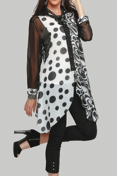 Minkas Black And White Sheer Tunic - Product List Image