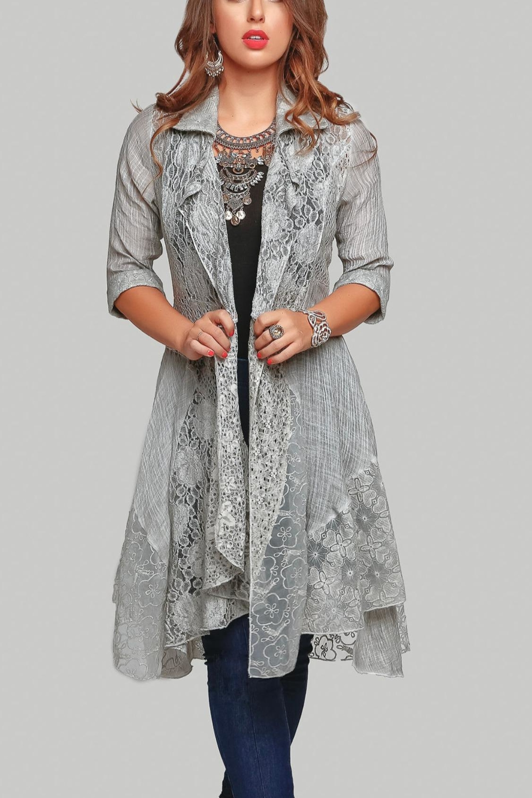 Minkas Grey Lace Duster - Main Image
