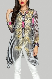 Minkas Long Sheer Print Blouse - Product Mini Image