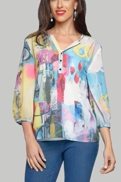 Minkas Sheer Print Blouse - Product List Image
