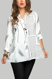 Minkas White Print Blouse - Product Mini Image