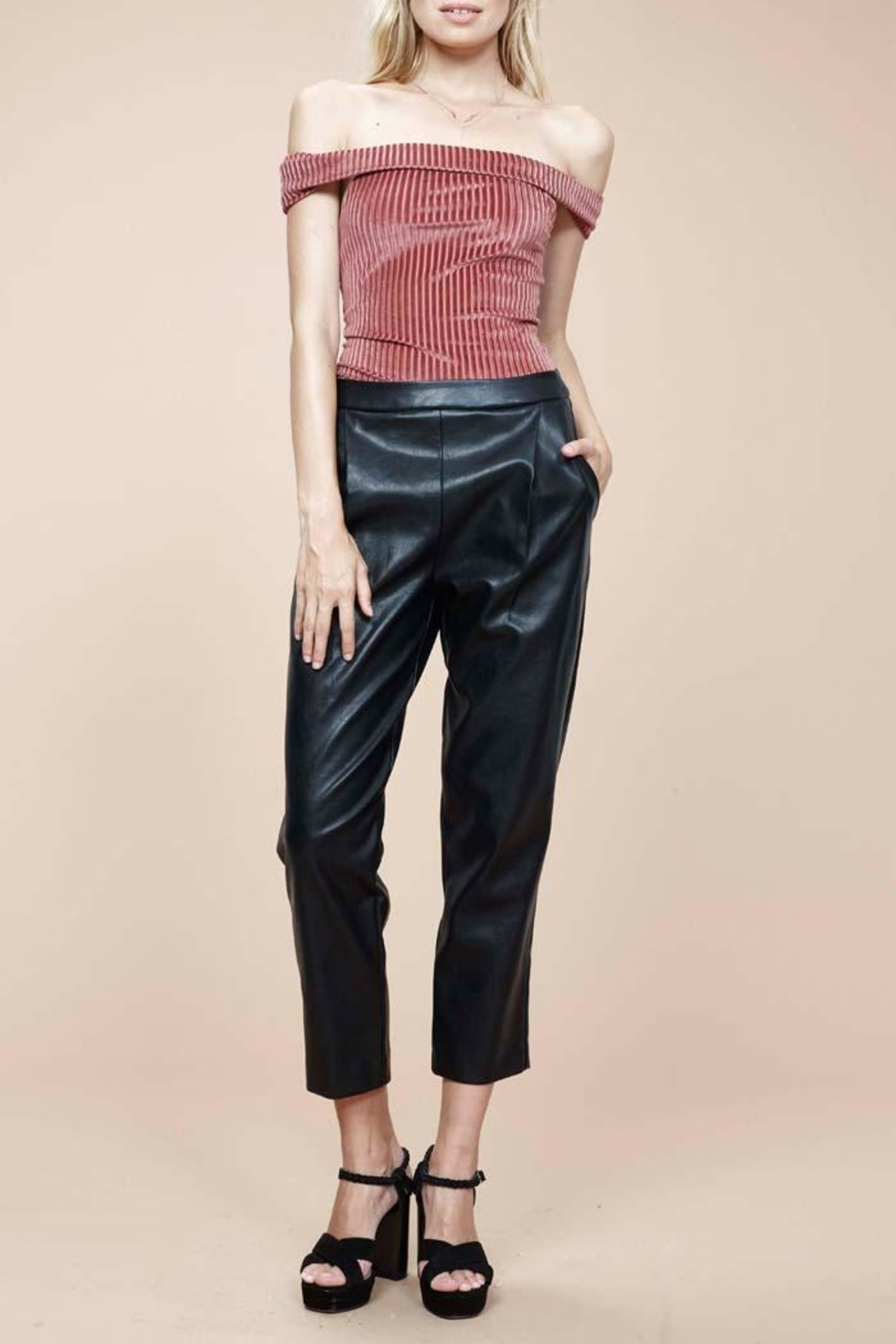 MinkPink Audrey Pleather Pants - Front Full Image