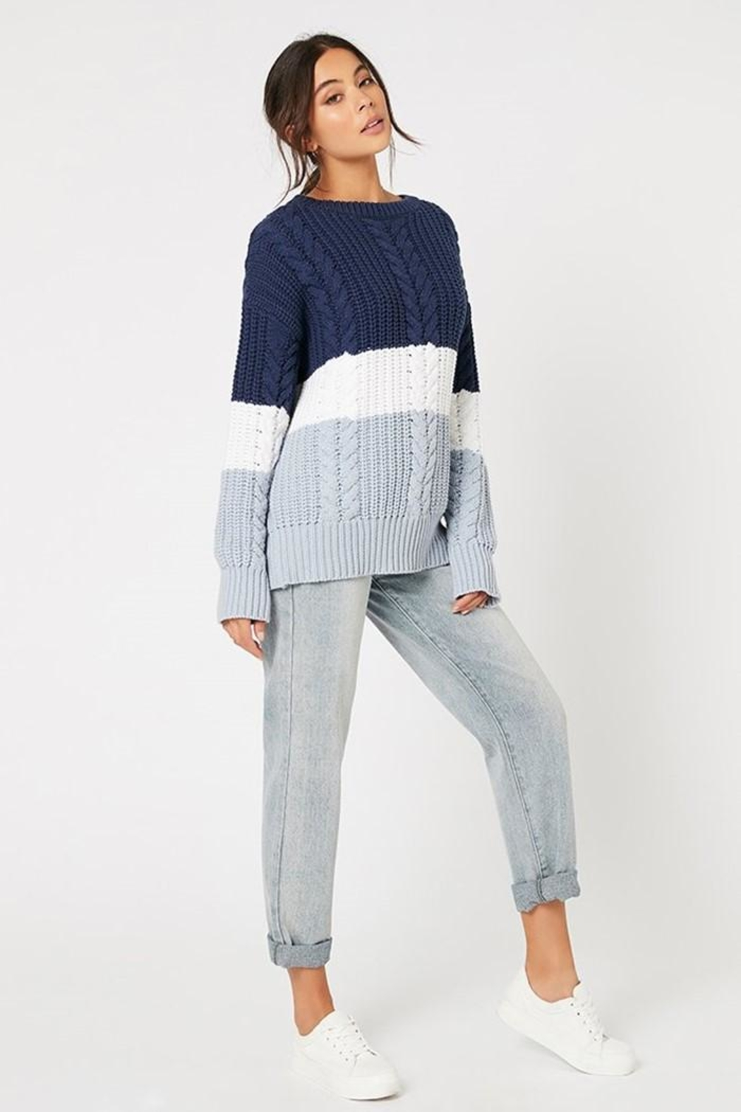 MINKPINK Blue Afternoon Sweater - Front Full Image