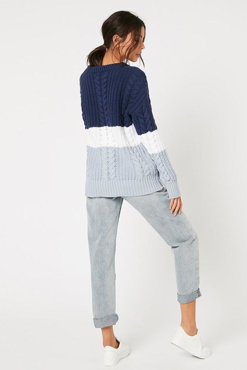 MINKPINK Blue Afternoon Sweater - Side Cropped Image